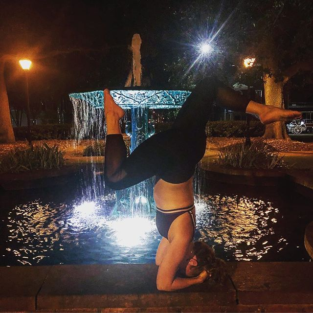 Playing around in Savannah, making sure I get some yoga in! Making sure we are taking time to remember to play around on weekends!  #headstand #yogaposes #yoga #yogapractice #savannahyoga #yogaonstuff #nightyoga #playingwithyoga #supportedheadstand #patienceandlove