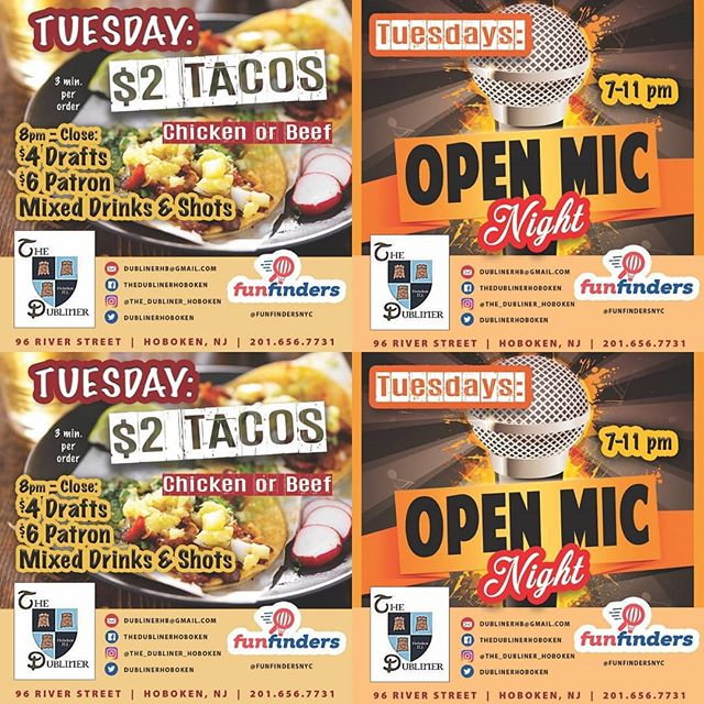 Taco Tuesday and Open Mic Night. Come get some great food while listening to some the area's aspiring artists perform.  Open Mic starts at 7pm and goes until at 11pm (the more ppl the longer we will go). This IS NOT KARAOKE, if you can't sing don't get your ass on the stage!!! 😂😂😂 #wegivethepeoplewhattheywant #tacos #openmic #hoboken #tuesday