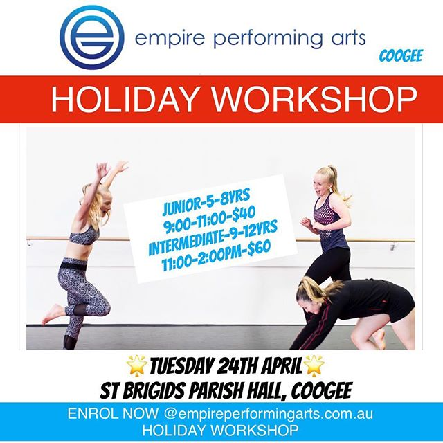 🌼GET YOUR CHILD MOVING THESE HOLIDAYS🌼  Enrol Now @ empireperformingarts.com.au Holiday Workshop! 🔷ACROBATICS🔷JAZZ🔷BALLET * Make new friends in your local area * Learn new skills * Enjoy our 13 metre Acro Matt * Move Shake Giggly and Create through our fun and dynamic classes * Bring a friend and enjoy this together 🌼Meet our friendly, highly qualified and inspiring teachers!  BOOK NOW TO AVOID DISAPPOINTMENT! 😊 🌟Check out our website empireperformingarts.com.au Holiday Workshop for more details 🌟  info@empireperformingarts.com.au