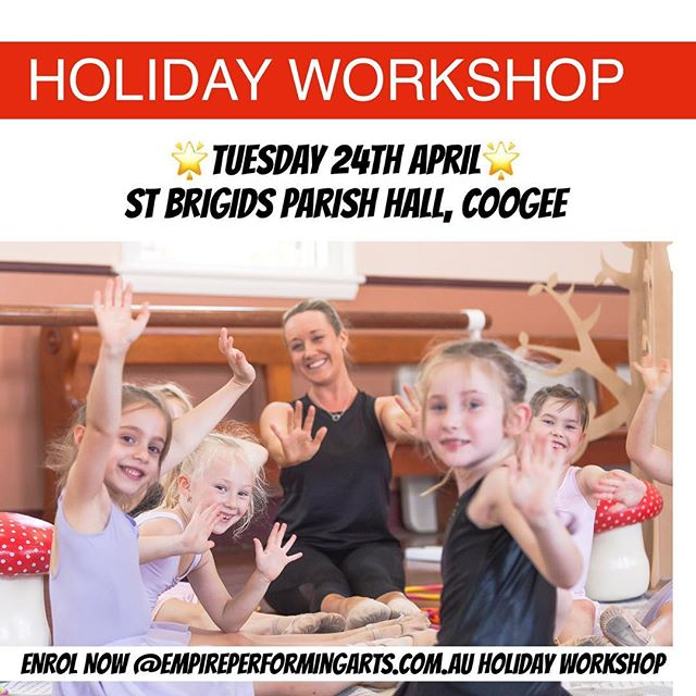🔷HOLIDAY WORKSHOP 🔷  Don't forget about our FUN CREATIVE AND ENERGETIC Holiday Workshop!!! 💥TOMORROW 💥Tuesday 24th April 💥5-8yrs - Juniors 💥9-12yrs- Intermediate 🌼St. Brigid's Parish Hall, cnr. Brook and Waltham street , Coogee 🌼Bring a friend and have fun together!! Check out our website empireperformingarts.com.au for more details!!! #coogee #easternsuburbs #holidayworkshop #tuesdayactivities #getmoving #holidayfun #dance