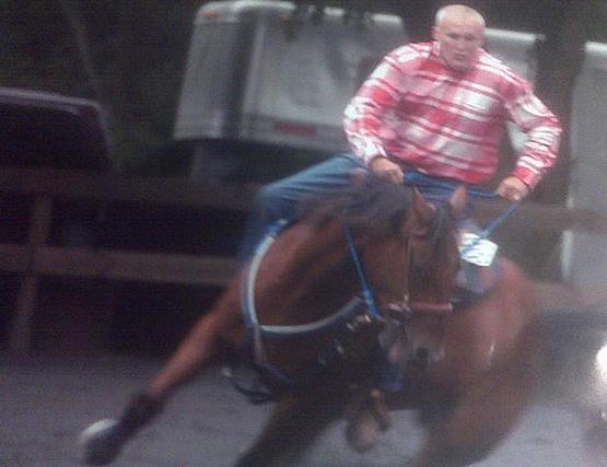 Sam barrel races his horse JP Xpress