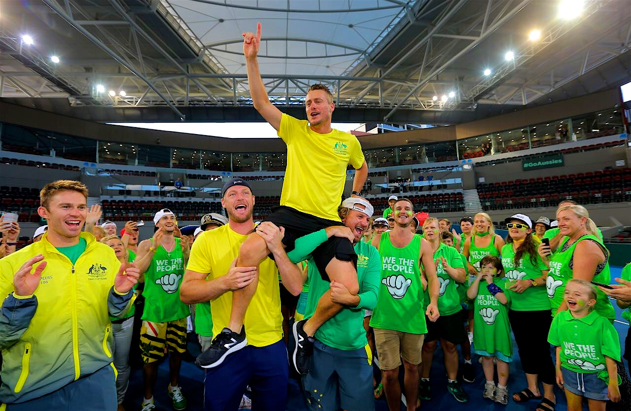 Lleyton Hewitt celebrates on court with We The People supporters in an exclusive meet & greet opportunity after their win against the USA in Brisbane 2017.