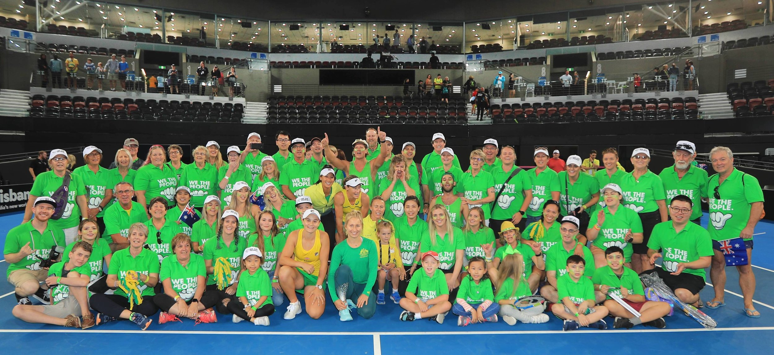 Gold We The People supporters on court in an exclusive meet & greet opportunity after their Semi-final win against Belarus