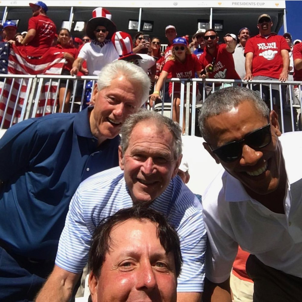 Former US President's Bill Clinton, George Bush and Barack Obama with Phil Mickelson and the We The People crew cheering behind them.