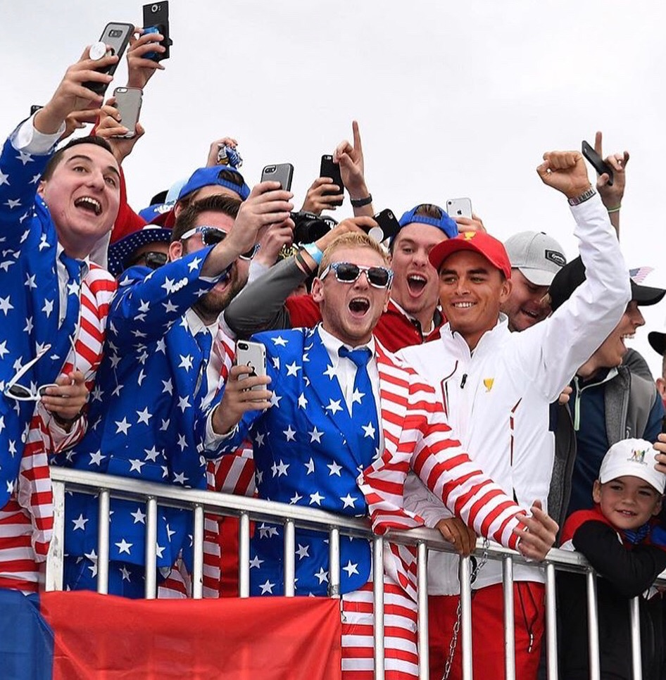 Rickie Fowler joins We the People in the stands.