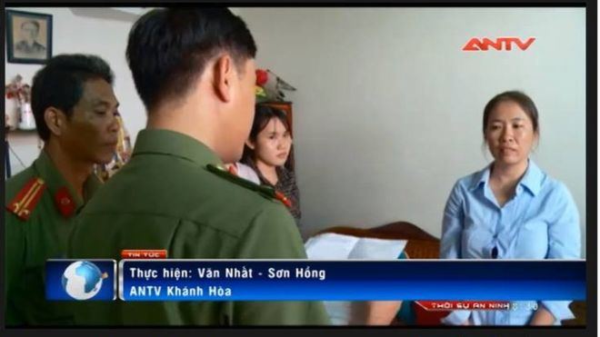 State tv channel ANTV reports on the arrest of Nguyễn Ngọc Như Quỳnh. (Photo: Screengrab)