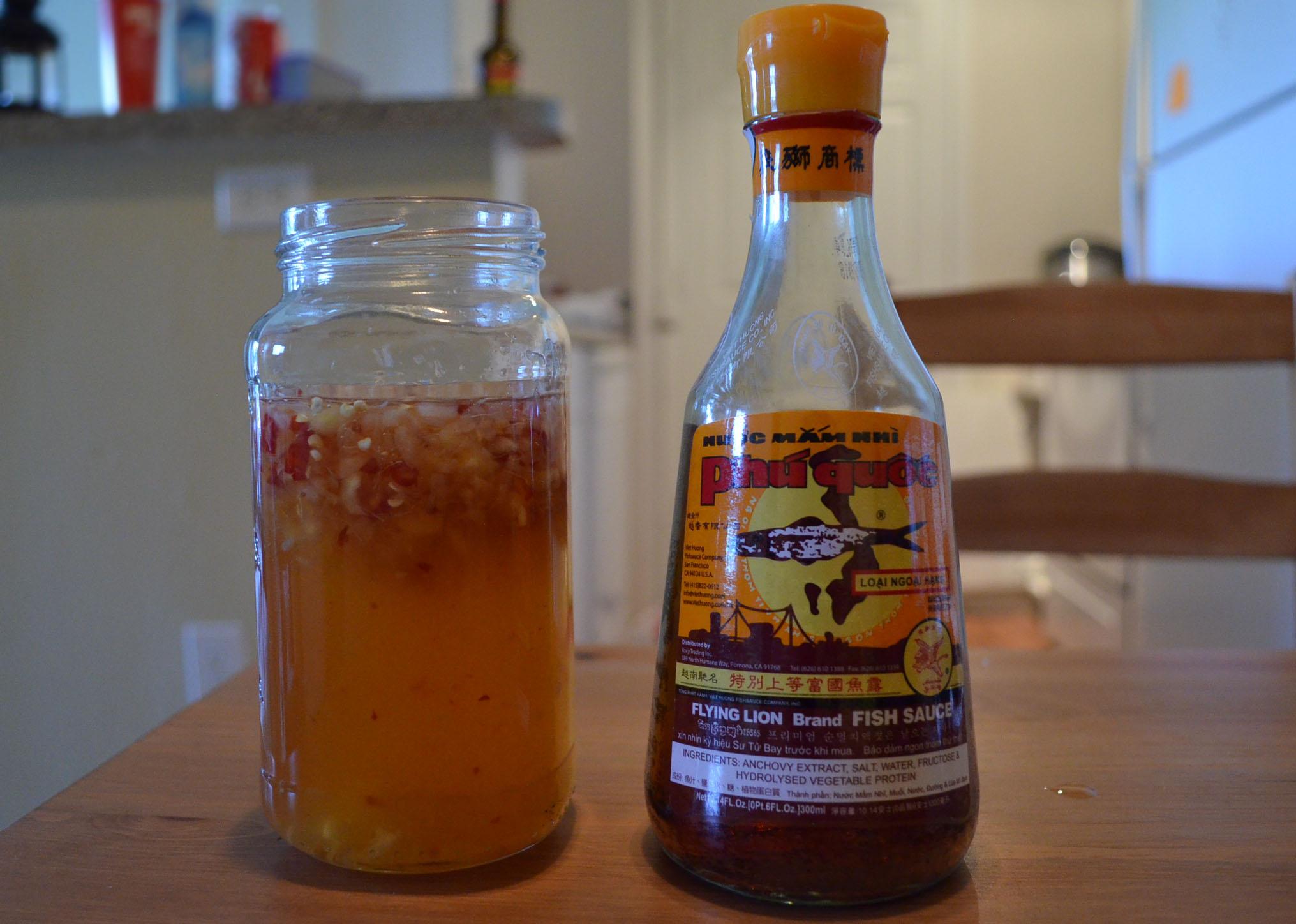 the final nước mắm chấm jar next to my bottle of nuoc mam from Phú Quốc (Photo: Loa/Kathy   Triệu)