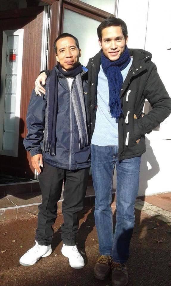 Đặng Xuân Diệu (left) with his nephew after his arrival in Paris. (Photo courtesy: Trương Minh Tam / Facebook)