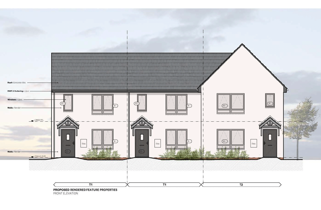 Designs of the feature properties which would 'face' Chester Road