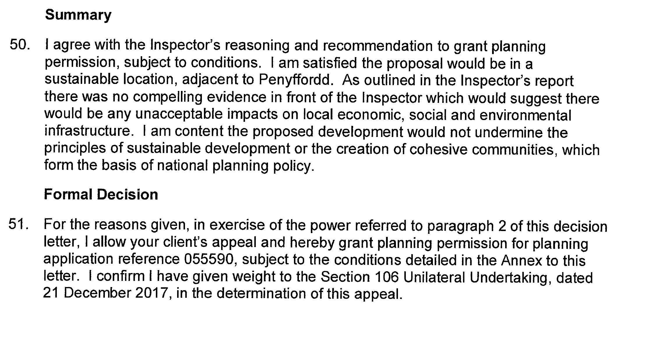 The summary by the Welsh Minister, Lesley Griffiths AM/AC who made the final decision