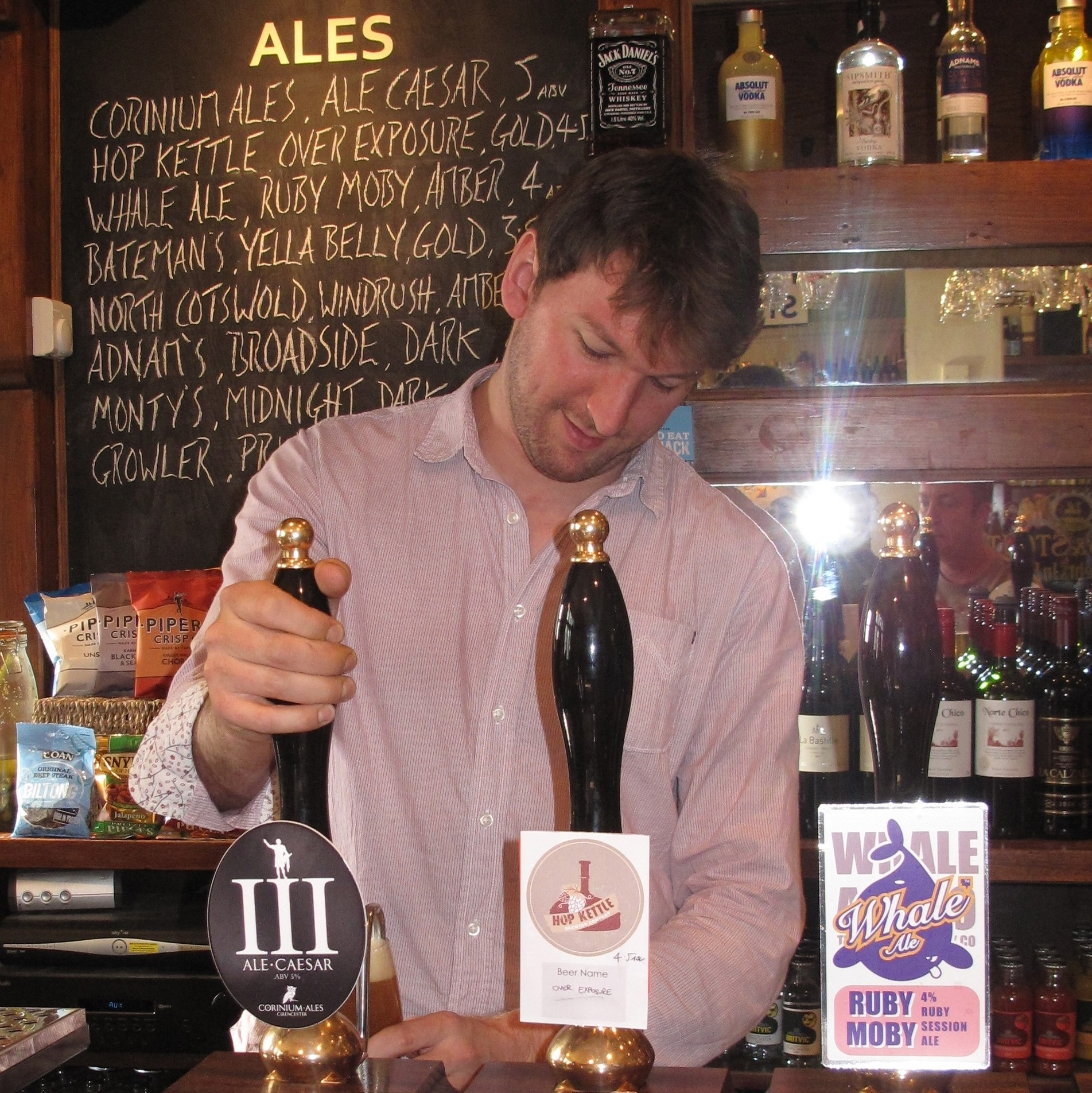 Ali pulls our first pint of Ale Caesar IPA in 2013 at the Marlborough Arms, Cirencester