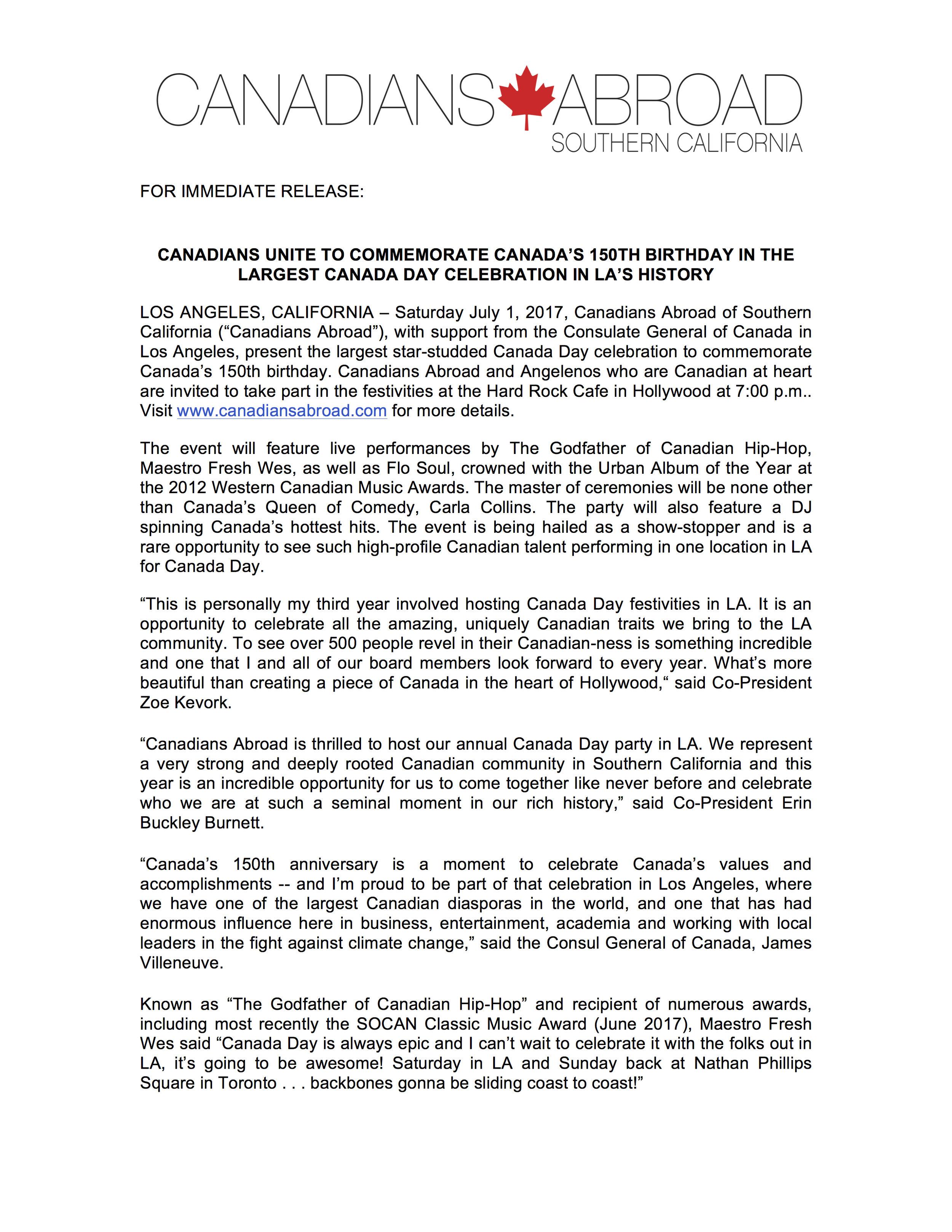 Canada 150 Press Release
