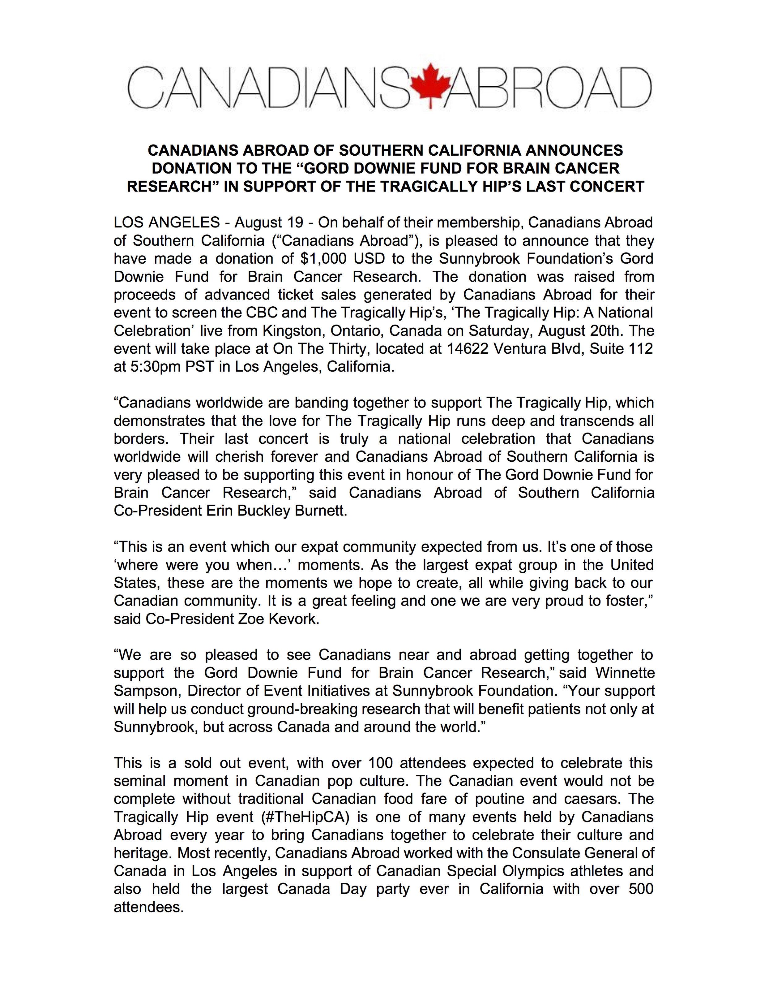 Gord Downie Fund Donation Press Release