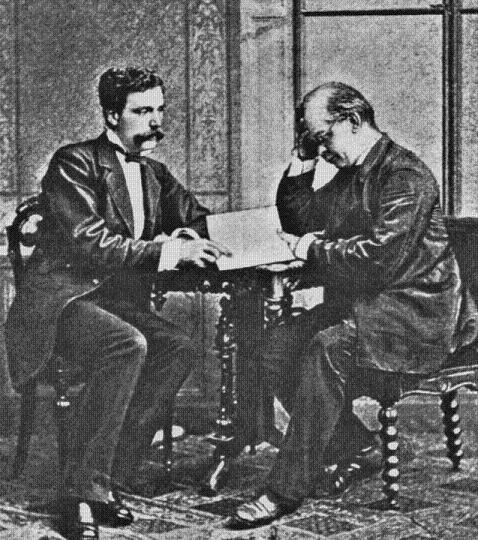 Henry Slade (left) sitting with Johann Zöllner