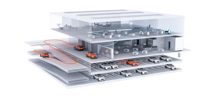 'Advanced Arrival' –Entwurfskonzept Parkhaus für autonom parkende PKW   ©Audi Urban Future Initiative