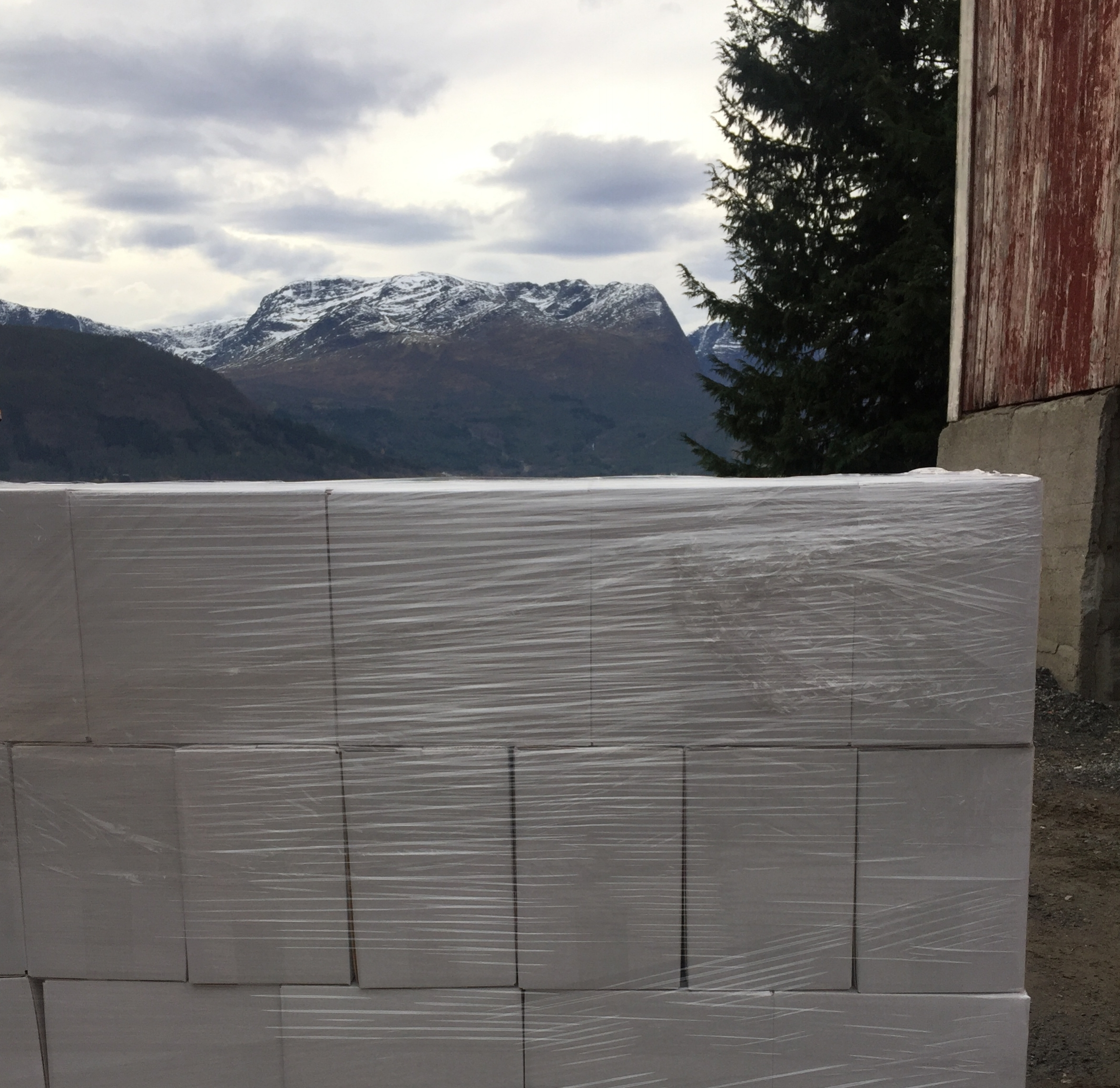 A pallet of Fjording ready for exit from scenic Nordfjord.