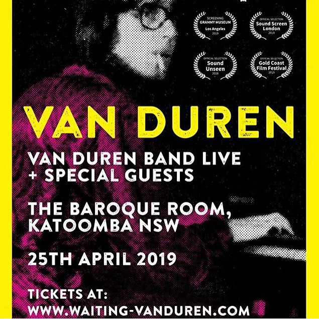 Tonight! Van Duren is in Katoomba ready for tonight's show at Baroque Room. Tickets available on the door. Lewis Goldmark kicks the night off at 7pm. Imperial Broads hit the stage 7:45.