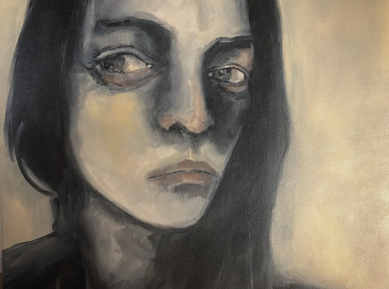 """TheStudyofSelf - 16""""x16"""" Stretched Canvas - Black gesso and Titanium Buff and brown Stabilo pencil."""