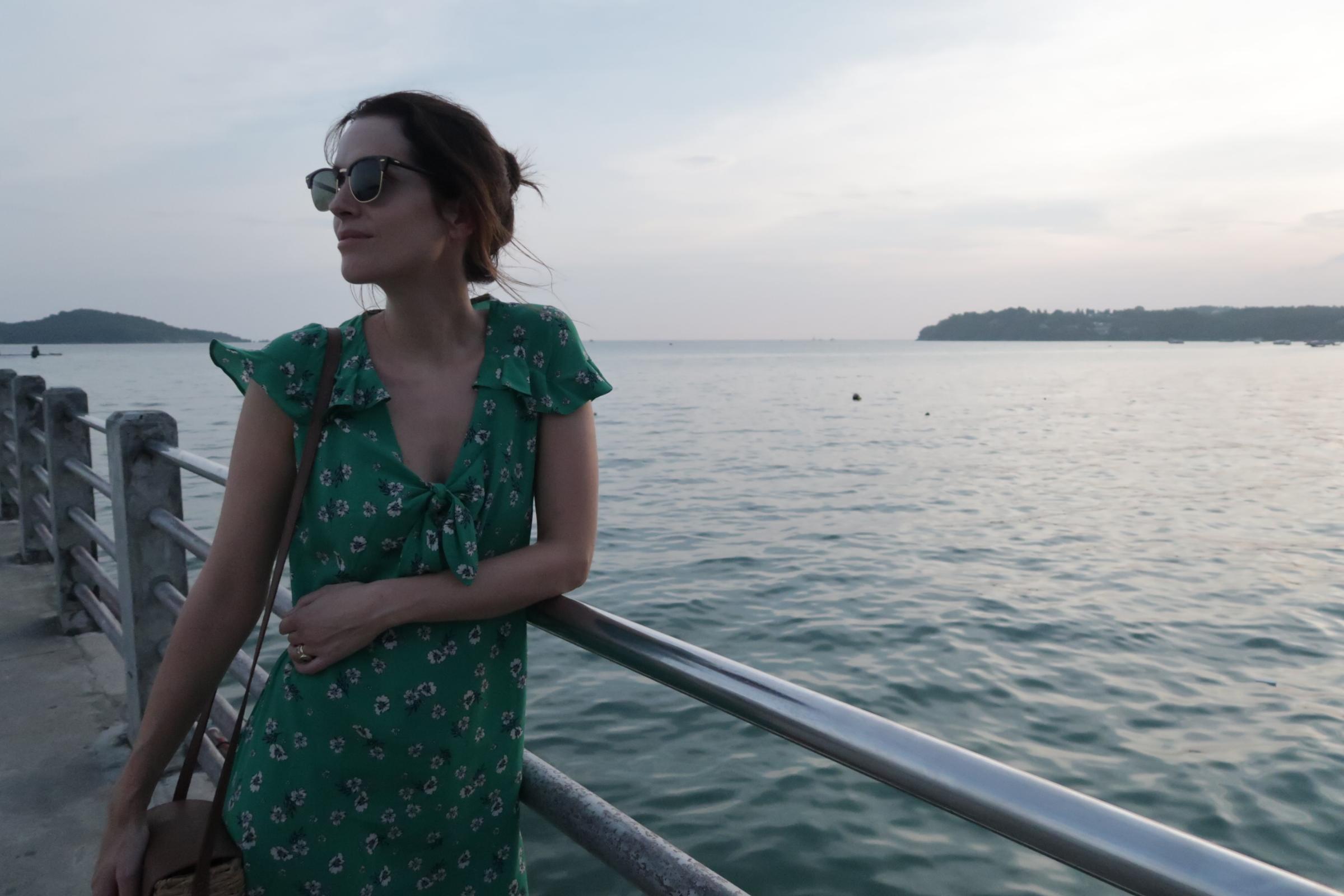 cute green dress, Holly White, Thailand Honeymoon.