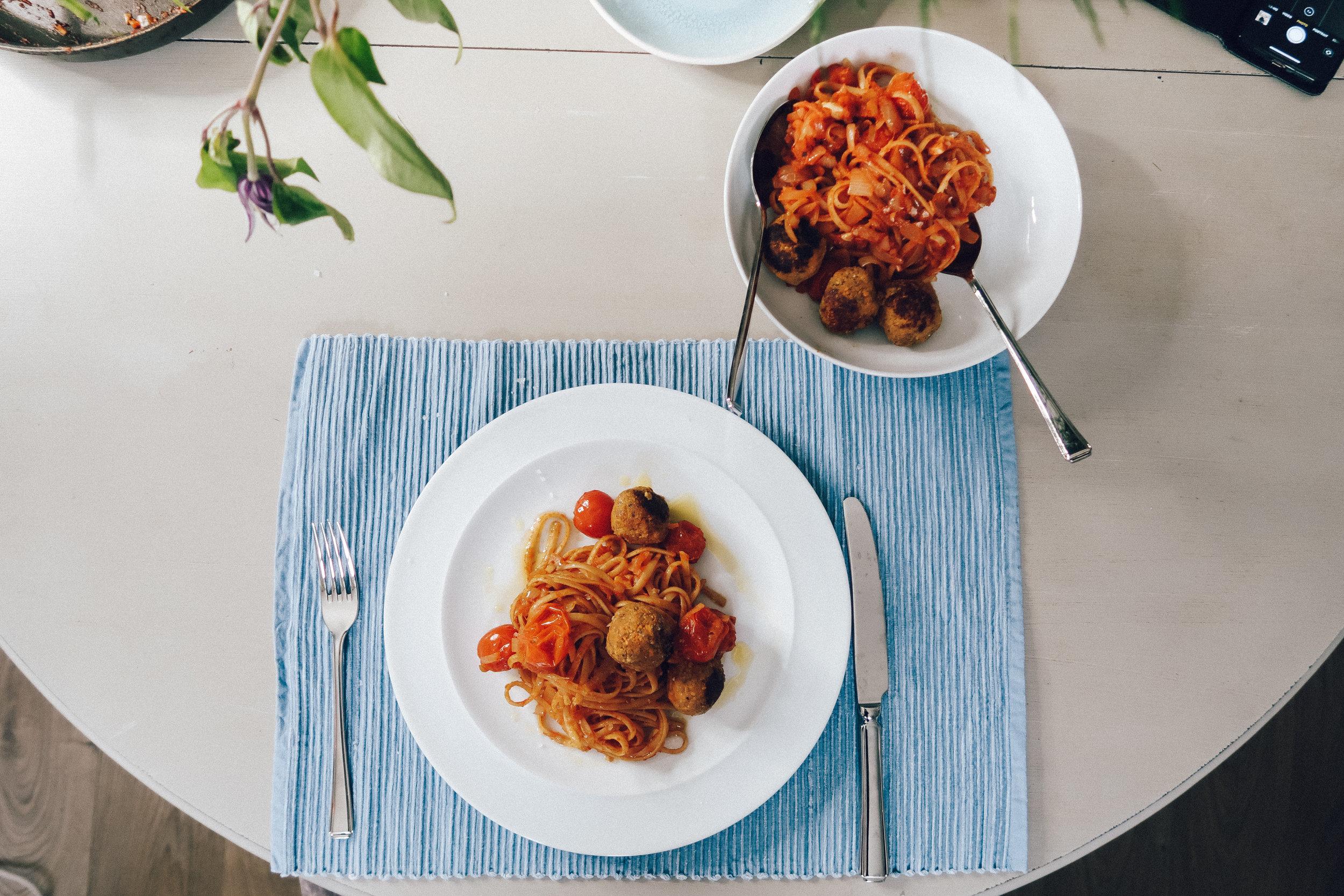vegan Meatballs, tomato sauce, pasta, Holly White, Vegan Recipes,