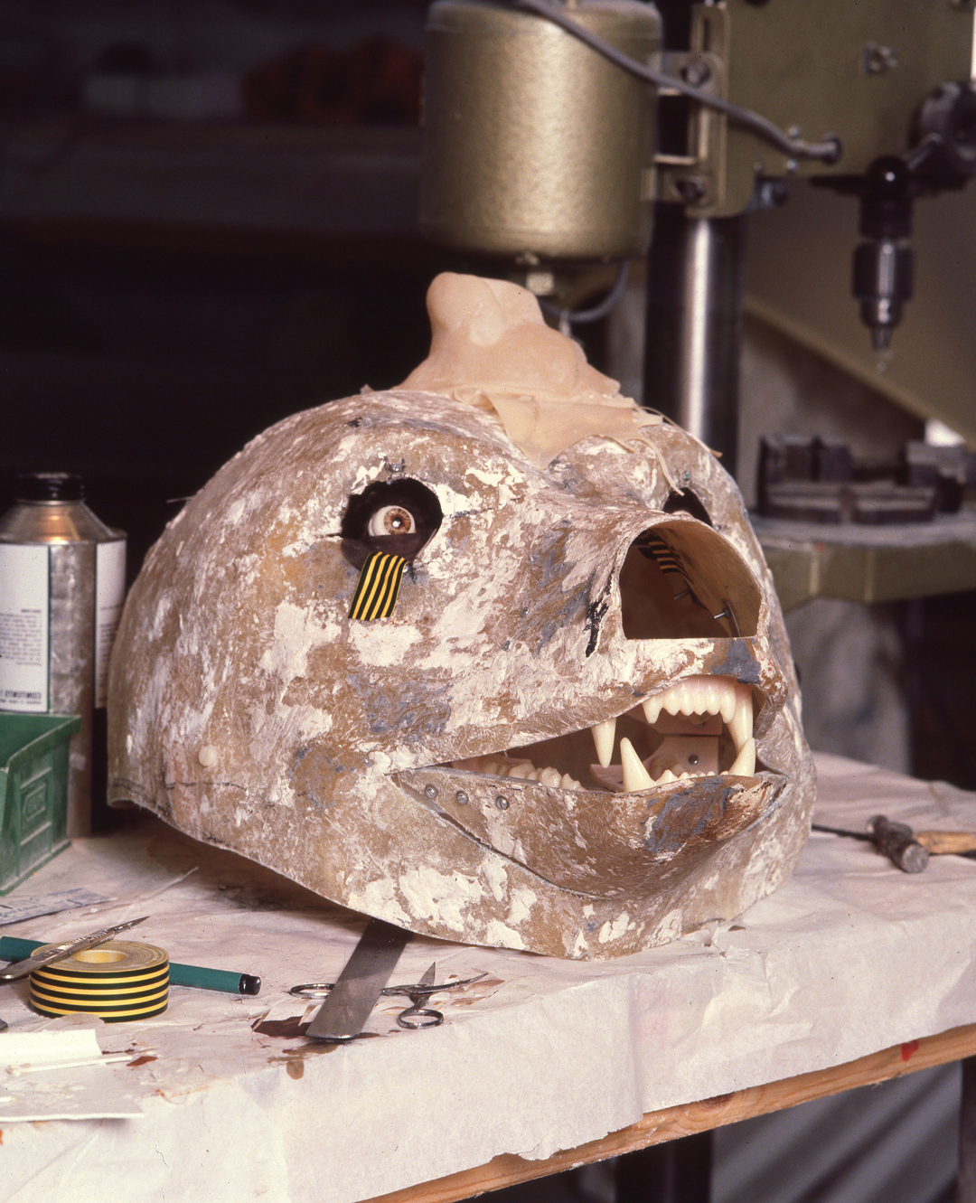 - Glassfibre head made from the plaster mould.The articulating jaw and roving eyes were radio controlled and even tear`s were all realistic facilities of the bear.