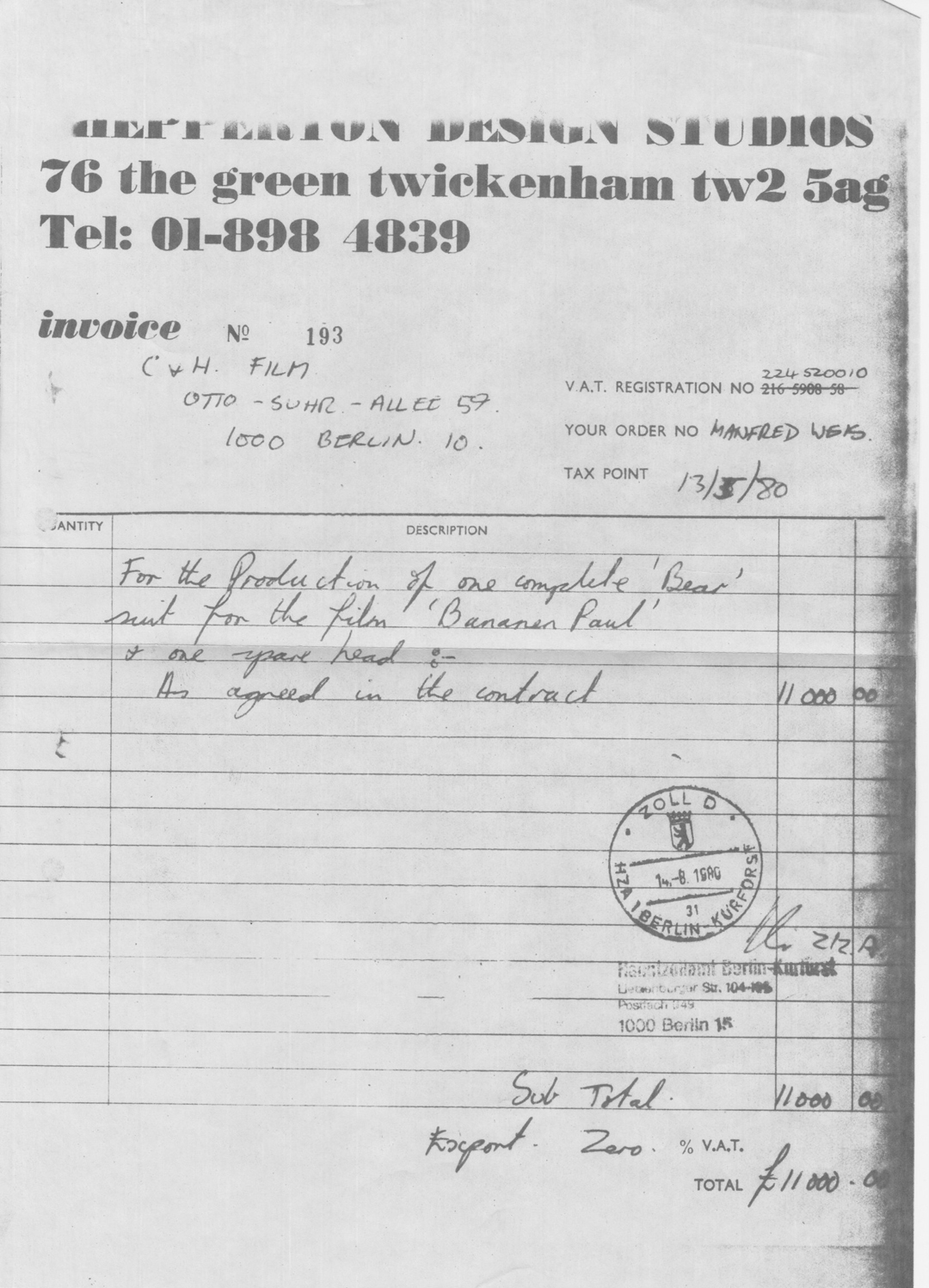 German zoll stamp - Invoice to C & H Film and custom clearance through to Berlin, before the wall came down.