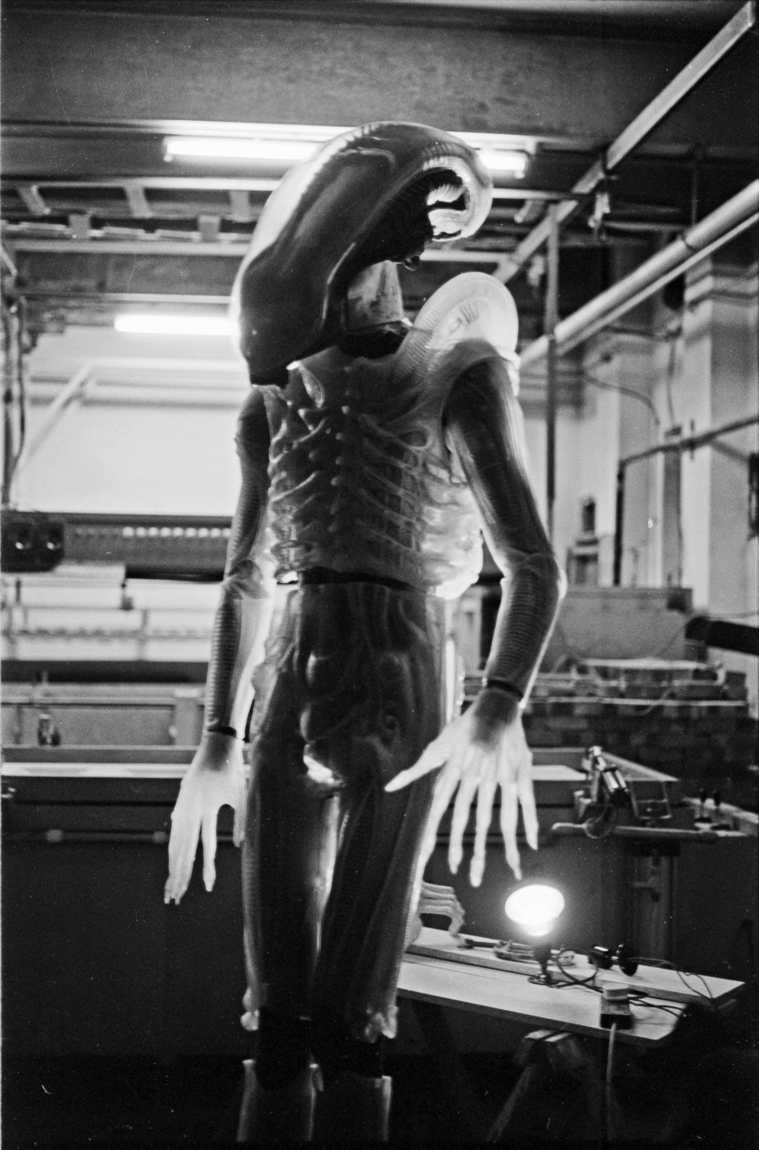 Giger`s concept - Giger`s concept of a monster that was translucent, showing all internal organisms,was a tall order for Andrew.To develop a material and invent a moulding process in the space of the time scale of a film shoot, was always going to be challenging.
