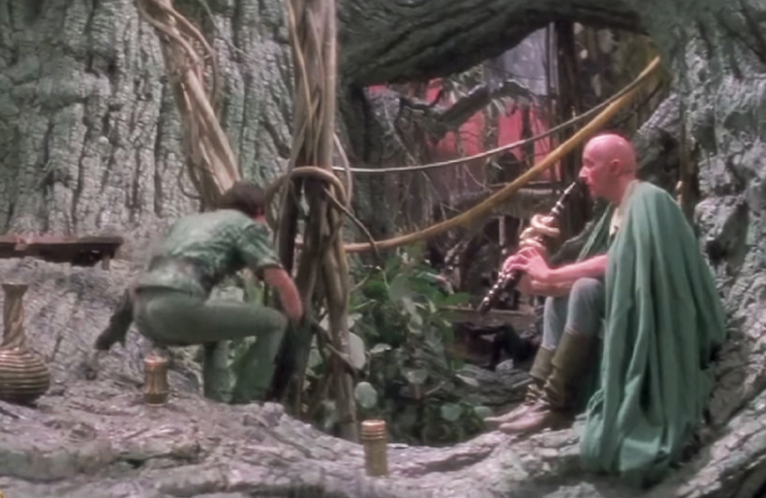 The Swamp - The floodable massive `H` stage at Shepperton studios was the venue for the swamp. Andrew created forests of Polyurethane leaves and Mango type plantations, all with the the type of materials that are never allowed today.