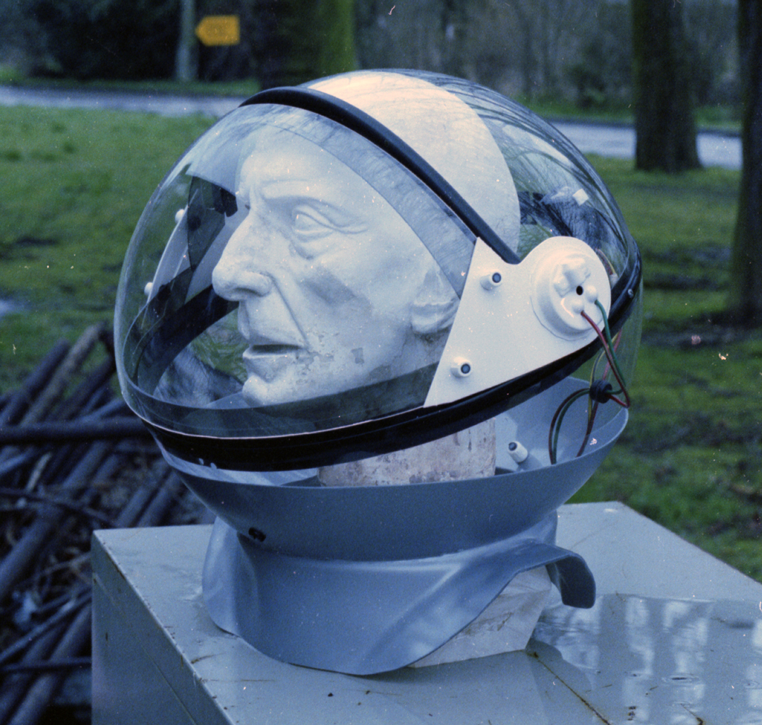 - Acrylic half spheres, blown on the vacuum forming machine formed the overall shape of the helmet.Cutting the front visor shape from the same sphere, allowed the visor and helmet shell to match up well.
