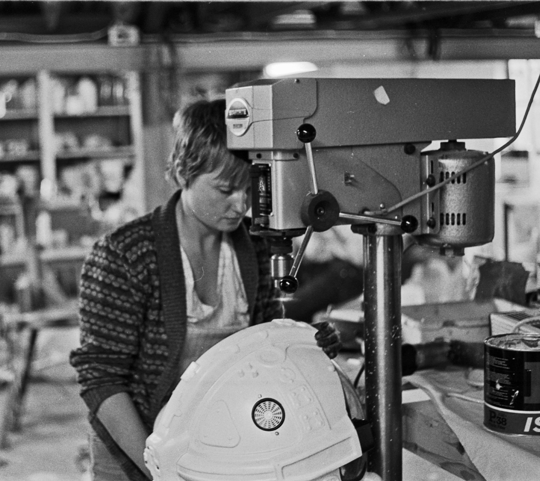 70 Helmets and Back Packs - Production of the vacuum formed ABS helmet shells had to be mated up to the clear acrylic visors,with ducting fittings and neck clamping rings.Bernadette was on Helmet assembly, but she never complained, even after 70 units.