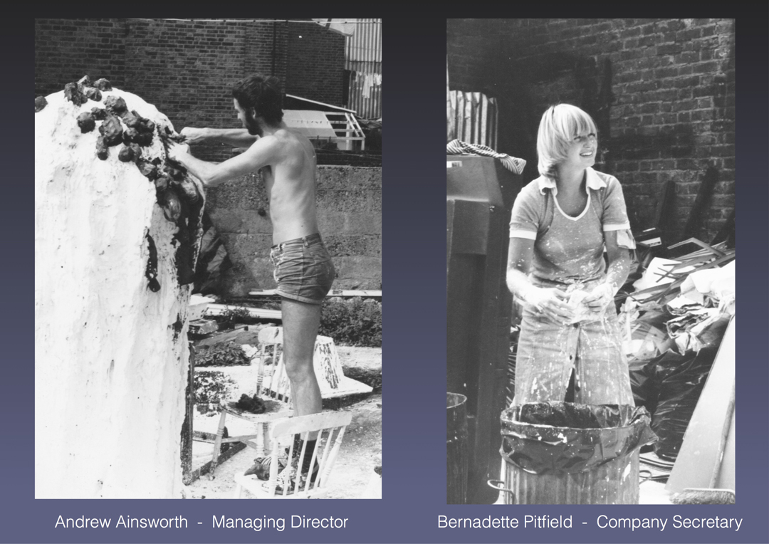 Burnt out shell.. - Before the move to Shepperton Studios, Andrew & Bernadette still operated from the burnt out shell of the Twickenham home, having only one first floor bedroom left standing and accessed from a ladder from the demolished building below.Happy days……..Even though Bernadette was a qualified teacher, her passion was really to get her hands dirty.