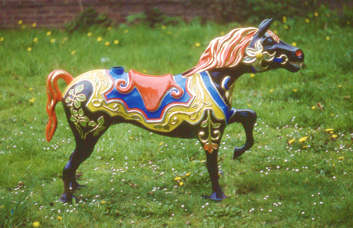 - A final colourful paint job over the bare glass fibre mouldings brought the horses to light.