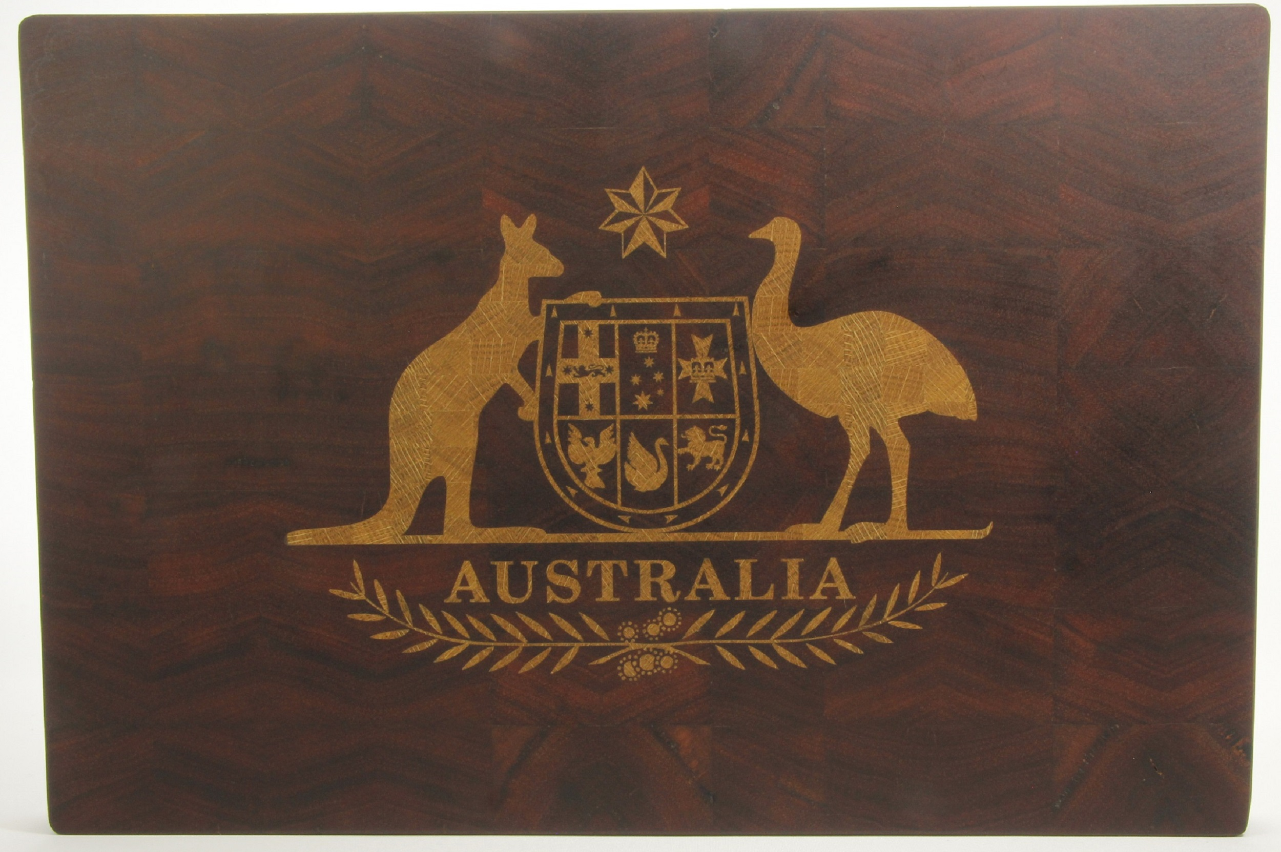 Jarrah End Grain Board with Tasmanian Oak Inlay  This board measures 470mmx310mm  Please Note this board is not for sale. It is only intended to showcase the level of detail that we can achieve