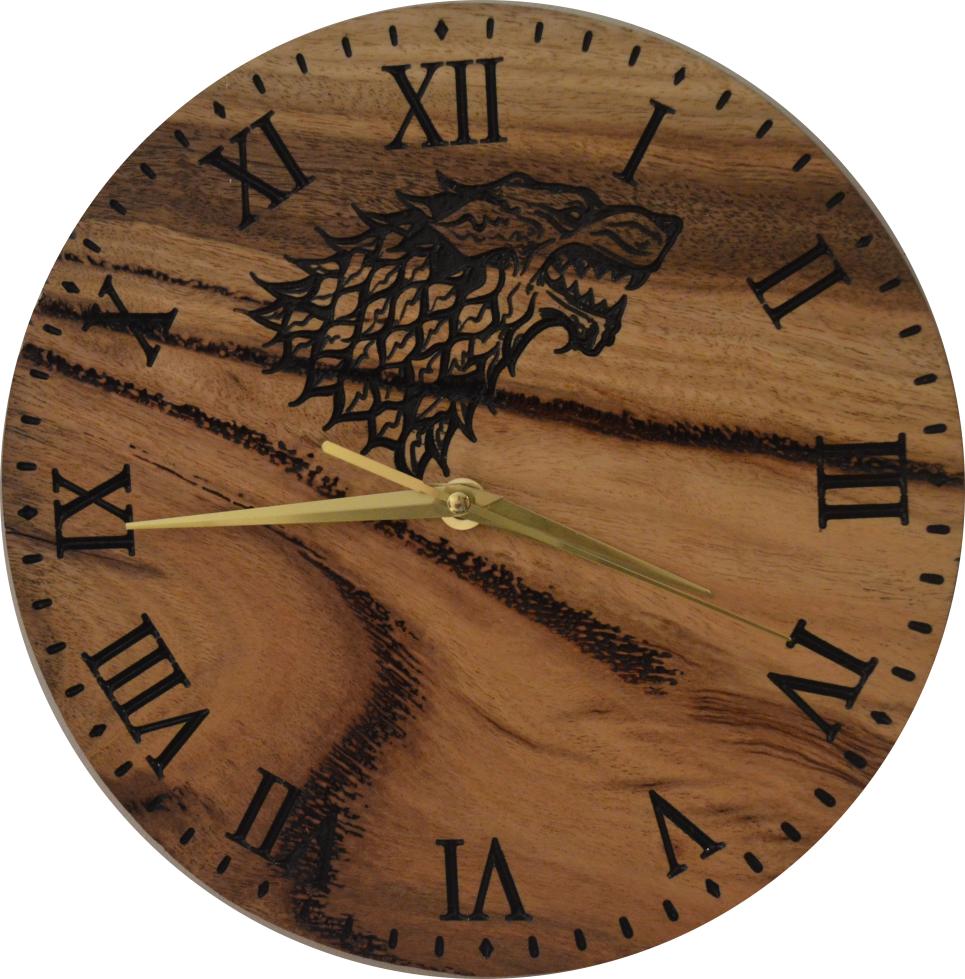 Marri Clock with House Stark Direwolf