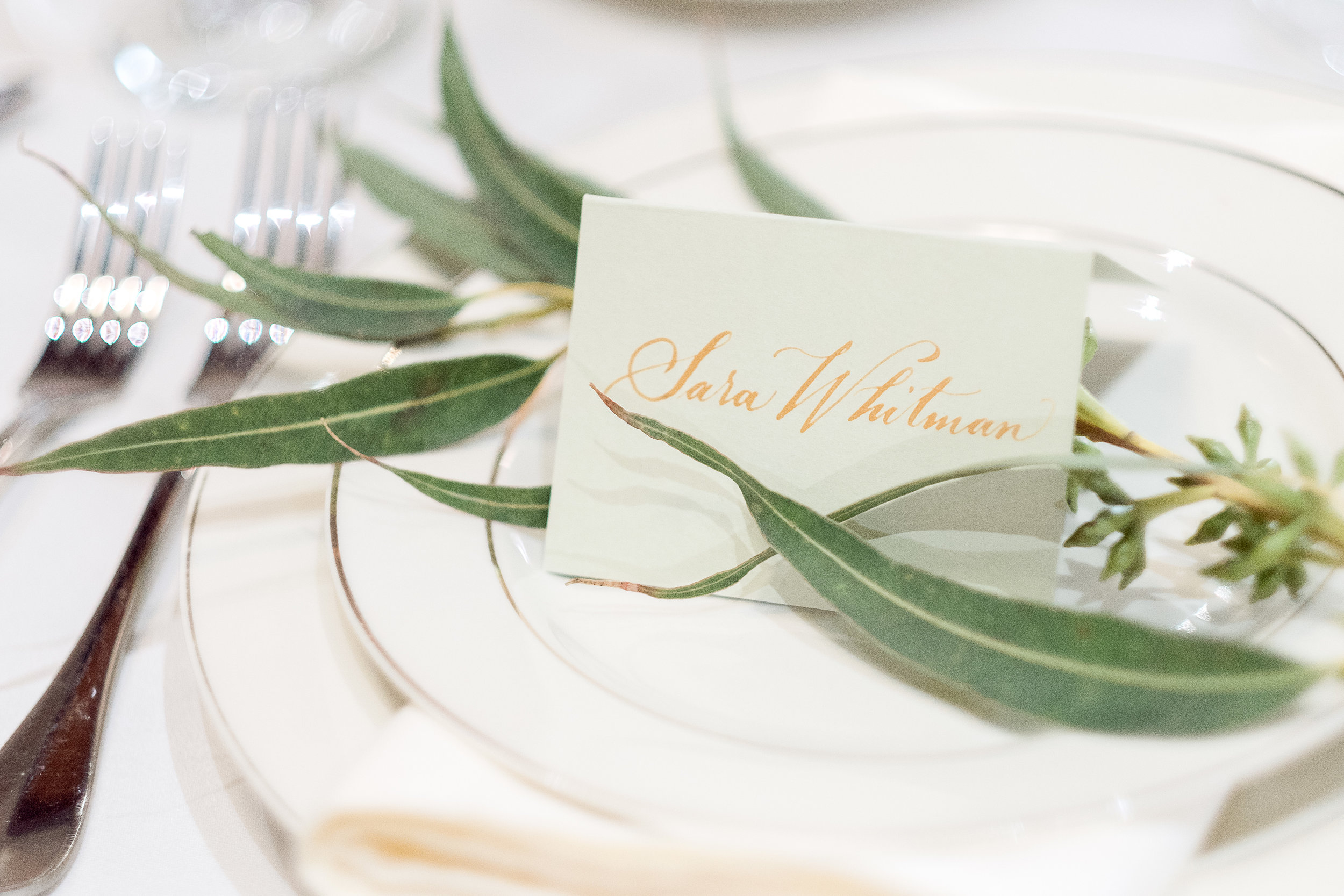 Place card by La Lettera Calligraphy NYC  for Exquisite Event Planners Co. Photographed by Caitlin's Living Photography. 2017