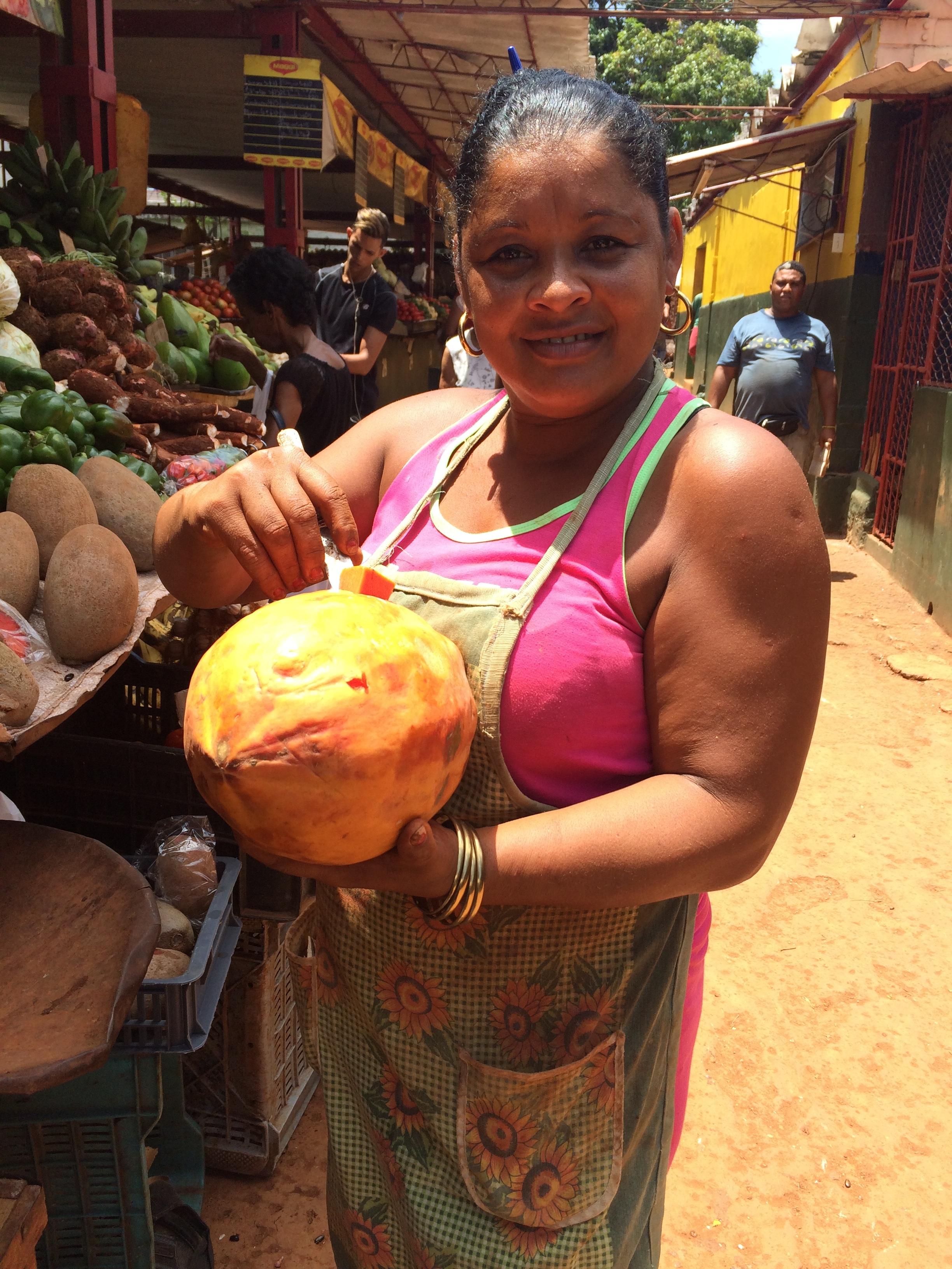 """Enormous fruta bomba at the farmer's markets --don't call them """"papaya""""!"""