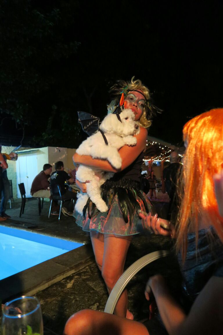 Cecilia, the host of the party that lasted til 3 a.m., and her cute dog.