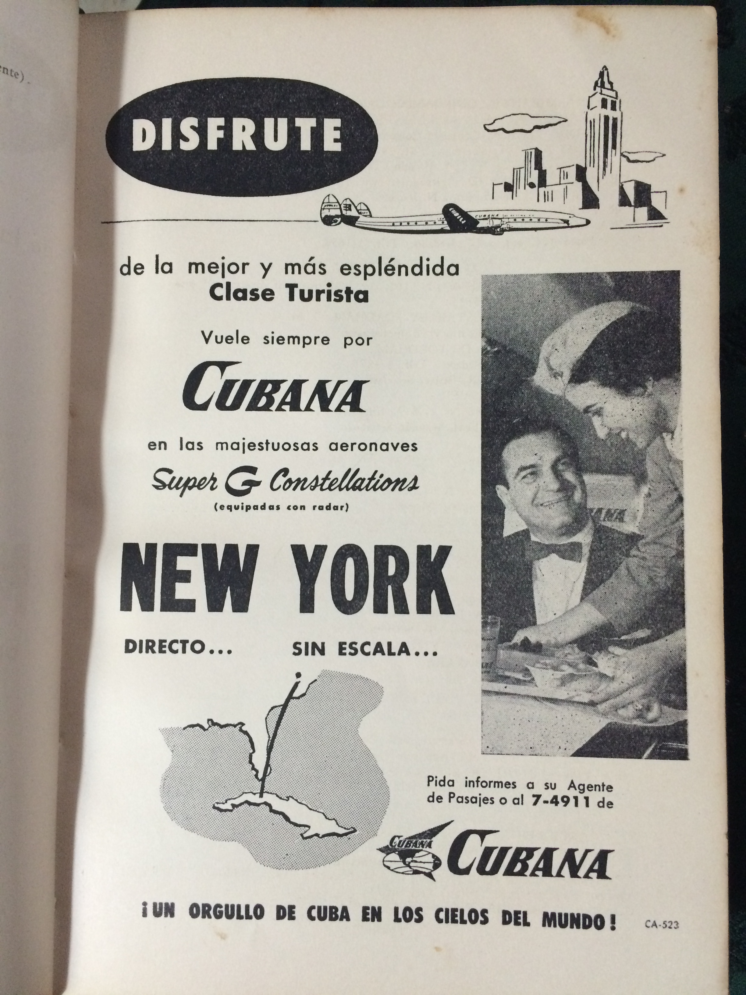 An advertisement for flights between New York and Havana from the 1950s, found in the pages of a Havana Social Registry at a local friend's home.