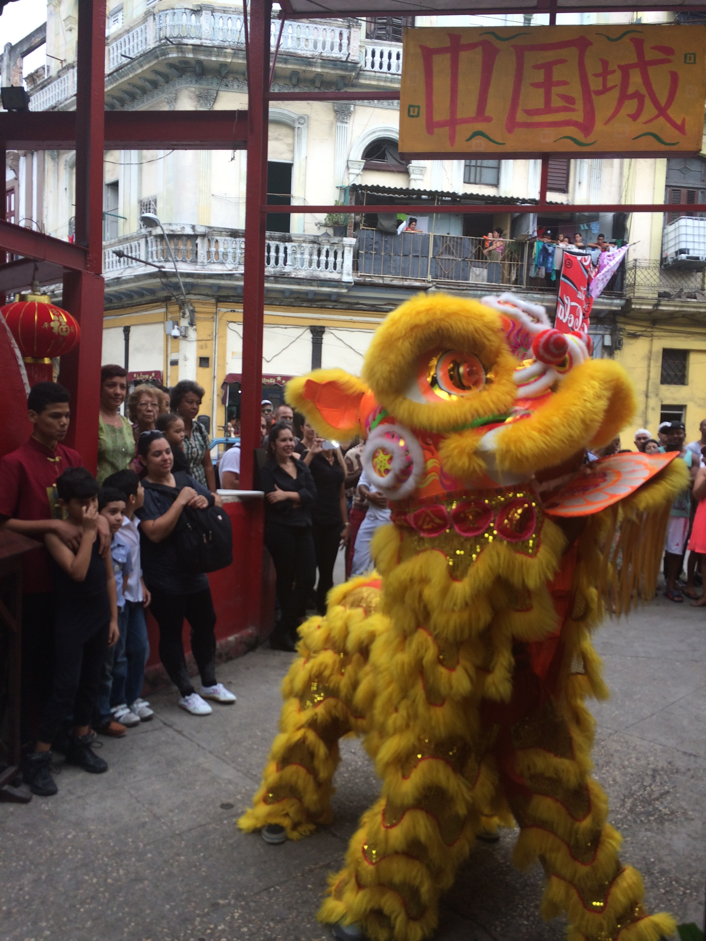 Cubans performing a lion dance to celebrate the Chinese New Year in Havana's Chinatown.