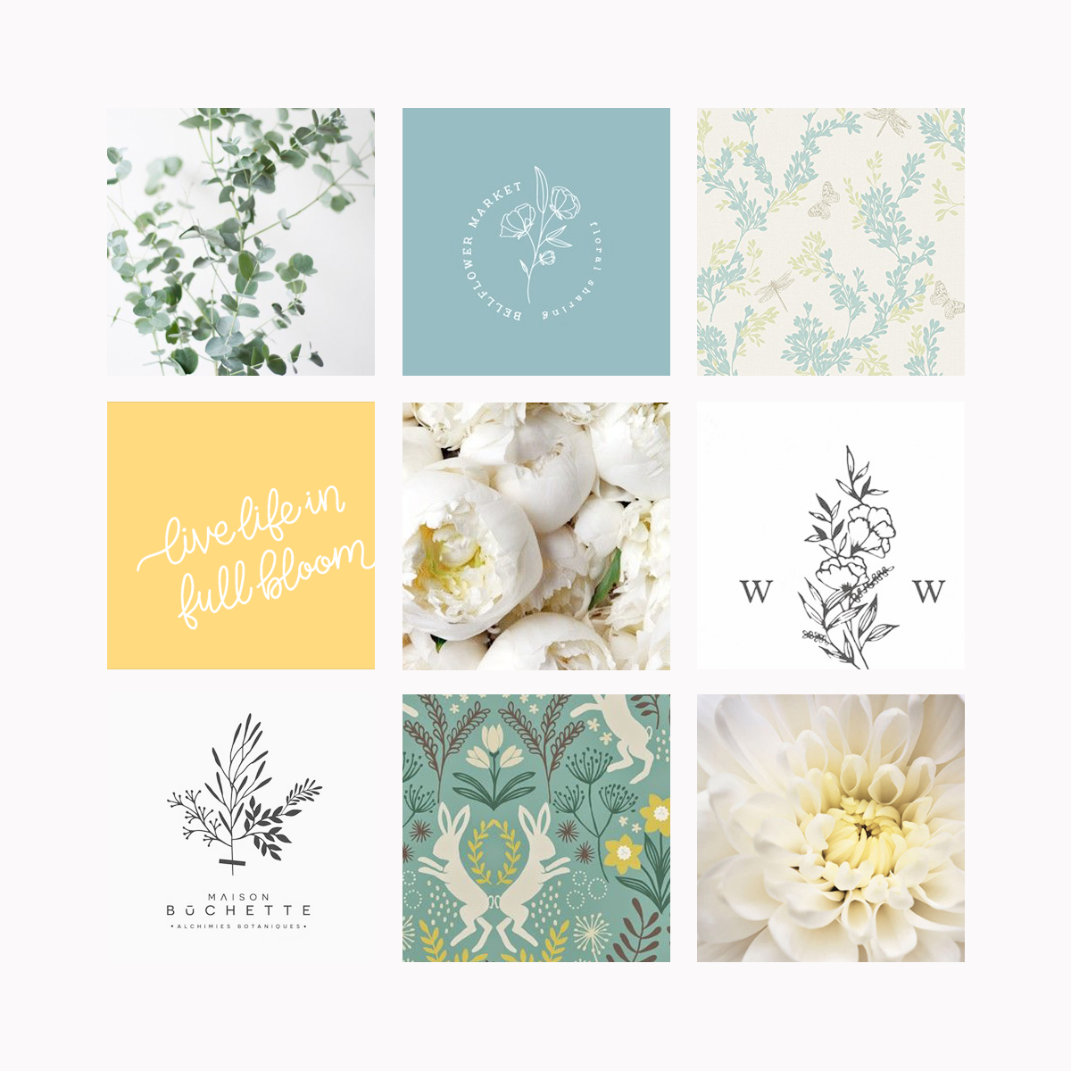 Ivory Bell Floral Logo & Branding Mood board Bea & Bloom Creative Design Studio