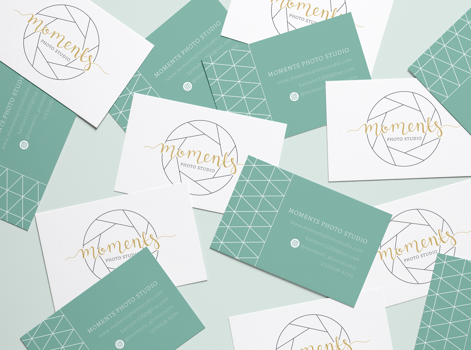 Moments Photo Studio Business Cards Logo & Branding by Bea & Bloom Creative Design Studio