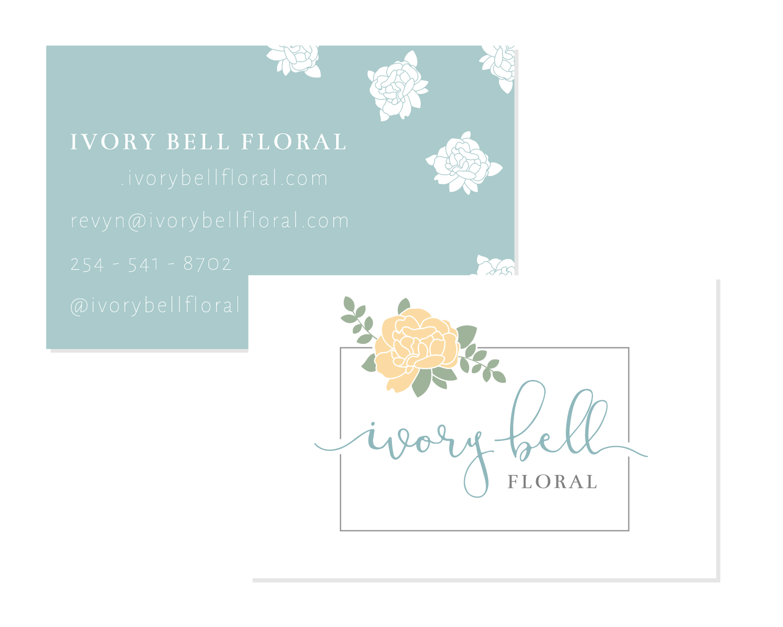Ivory Bell Floral Logo & Branding Business Card Bea & Bloom Creative Design Studio