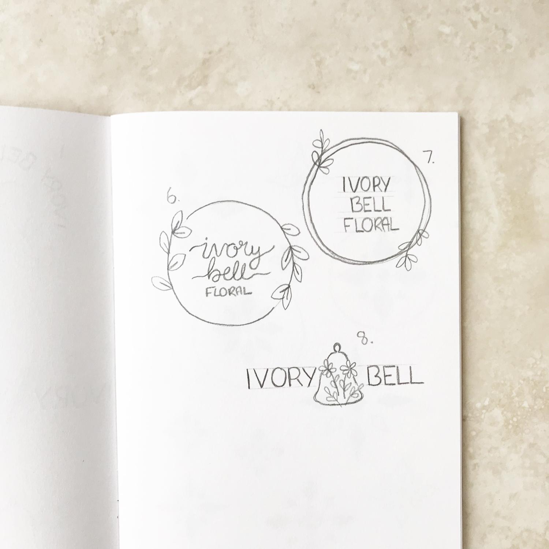 Ivory Bell Floral Logo & Branding Bea & Bloom Creative Design Studio sketchbook