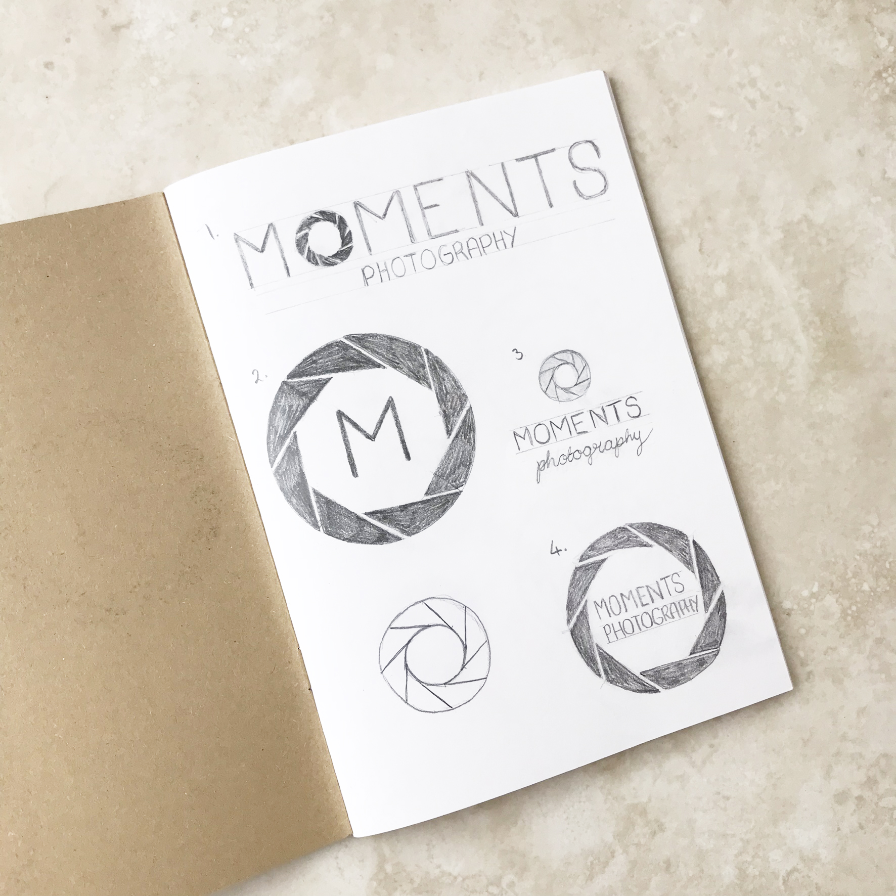 Moments Photo Studio Logo & Branding Design Bea & Bloom Creative Design Studio sketchbook