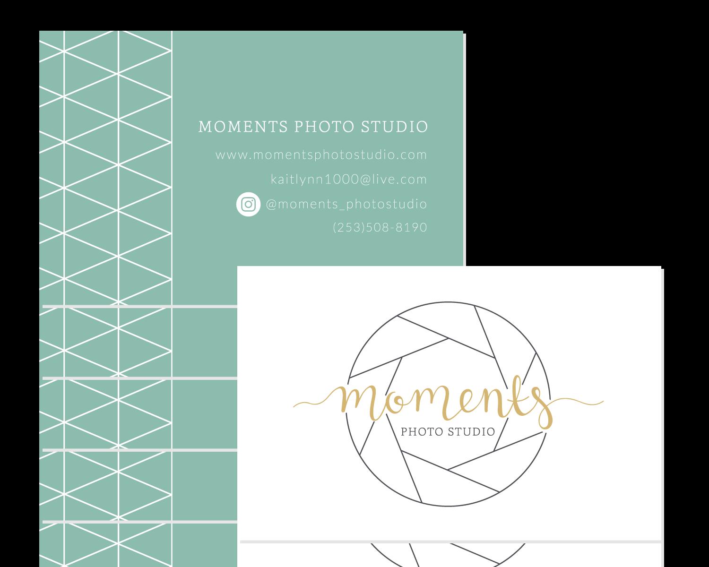 Moments Photo Studio Business Card Logo & Branding Design Bea & Bloom Creative Design Studio