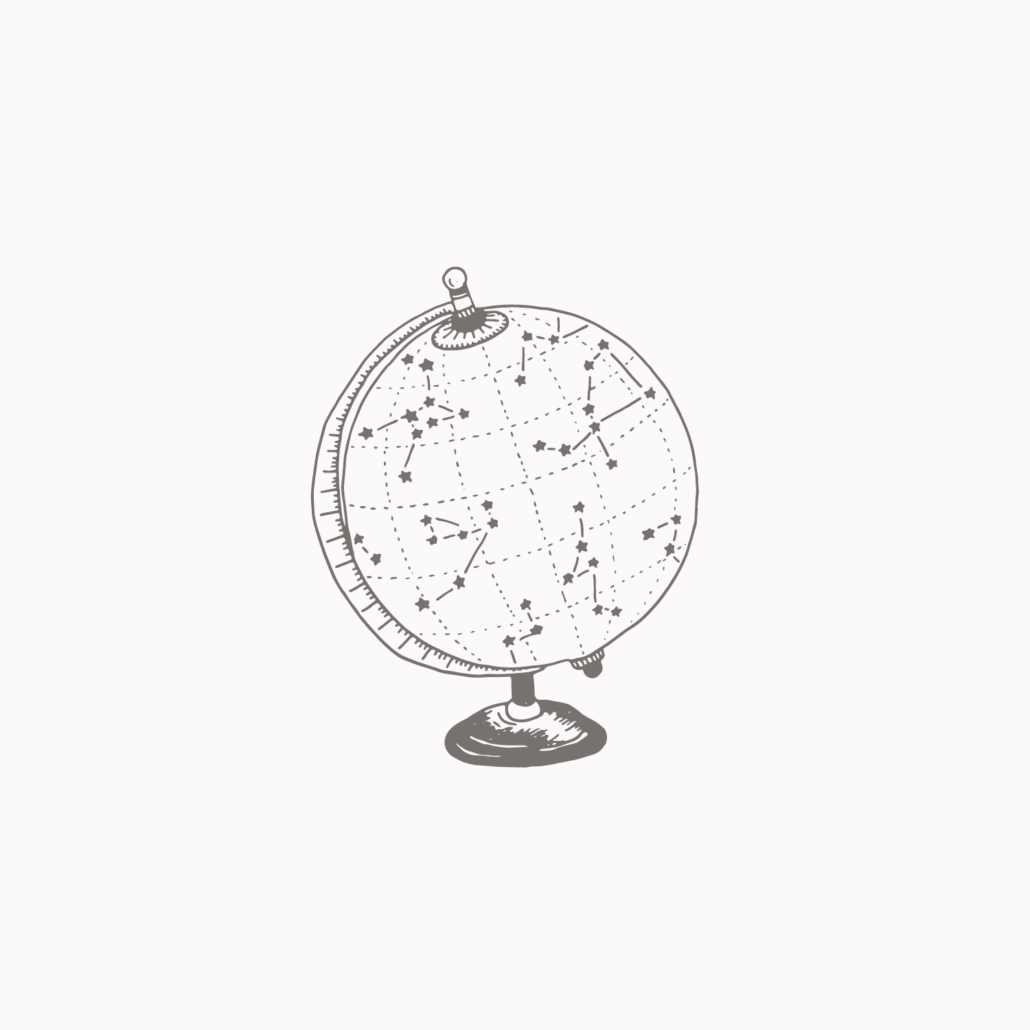 Astronomy globe illustration #the100dayproject by Bea & Bloom Creative Design Studio