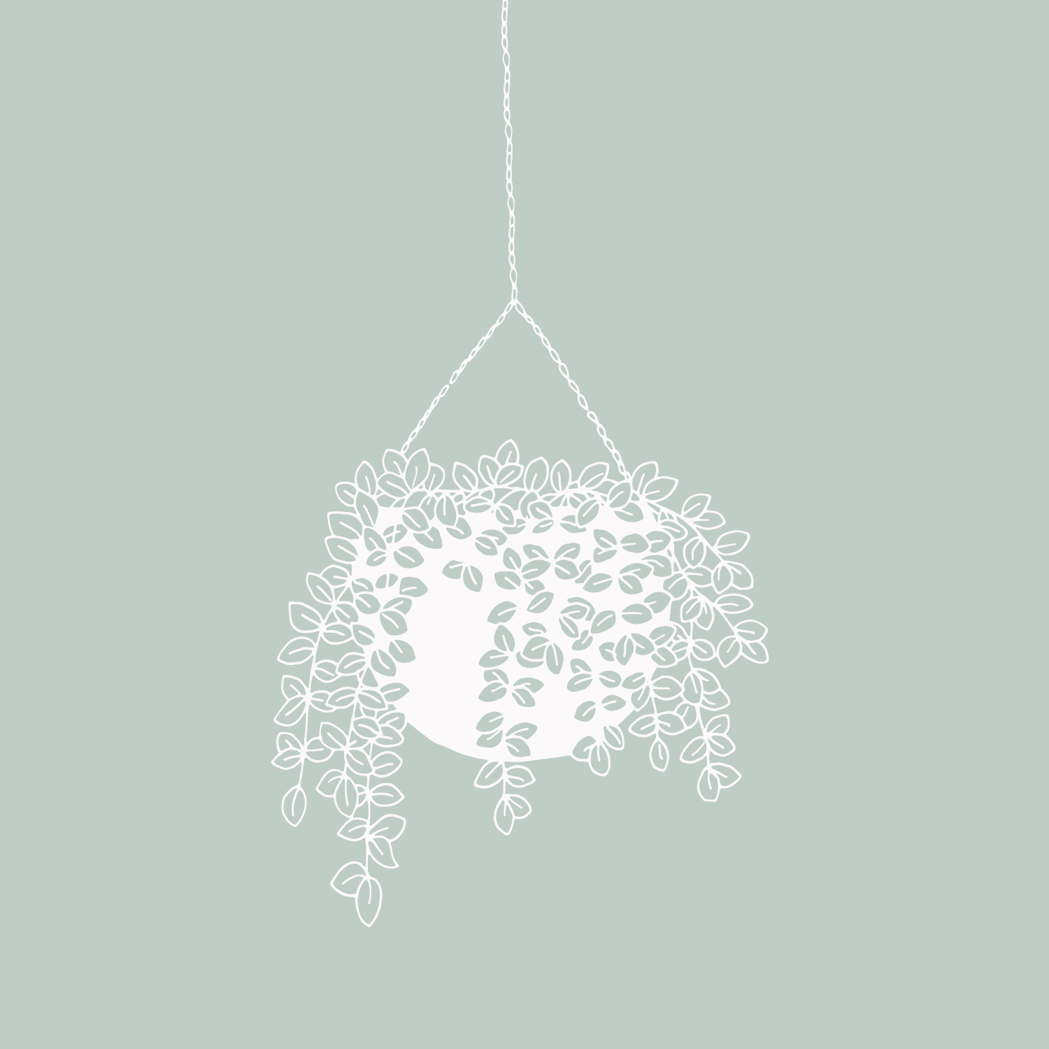 Hanging planter succulents illustration #the100dayproject by Bea & Bloom Creative Design Studio