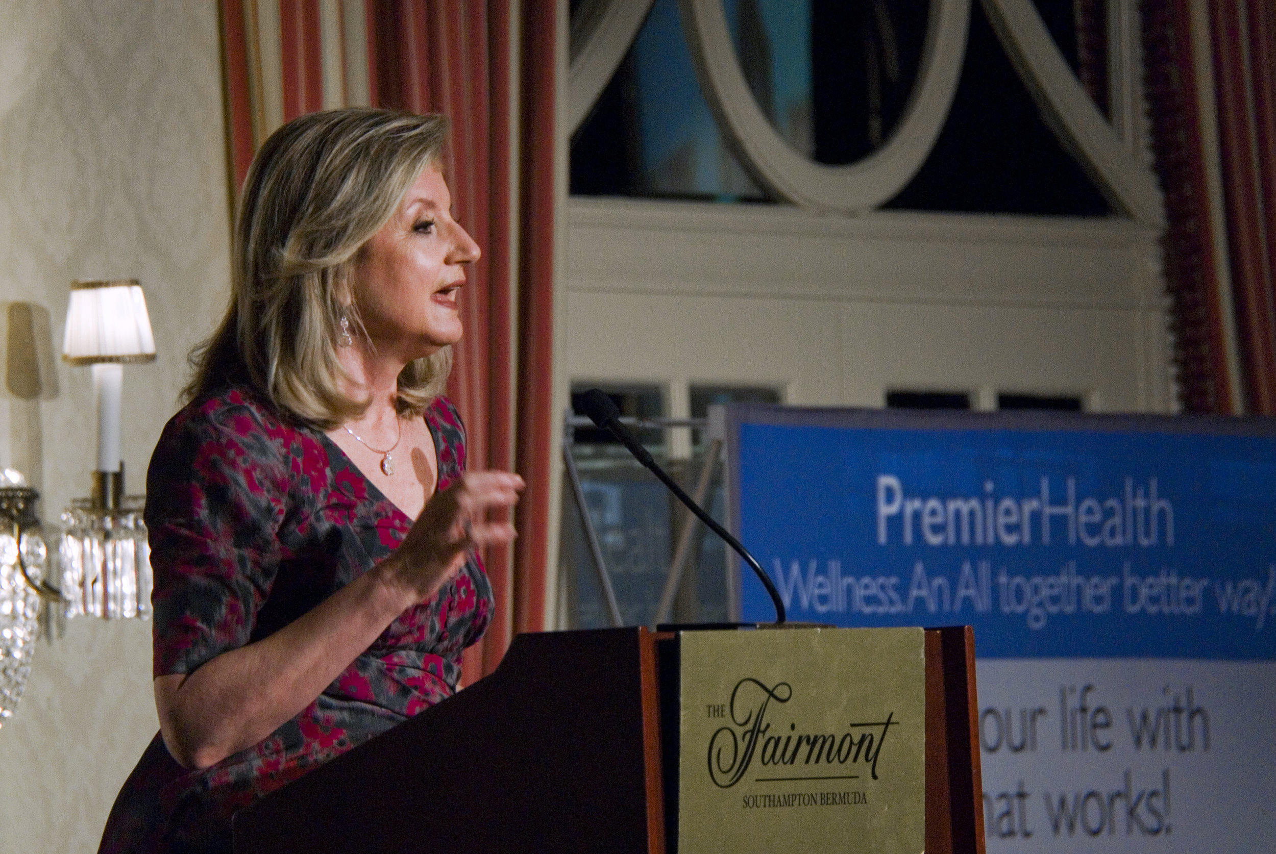 Arianna Huffington addressing the public audience at Fairmont Southampton on 11th April