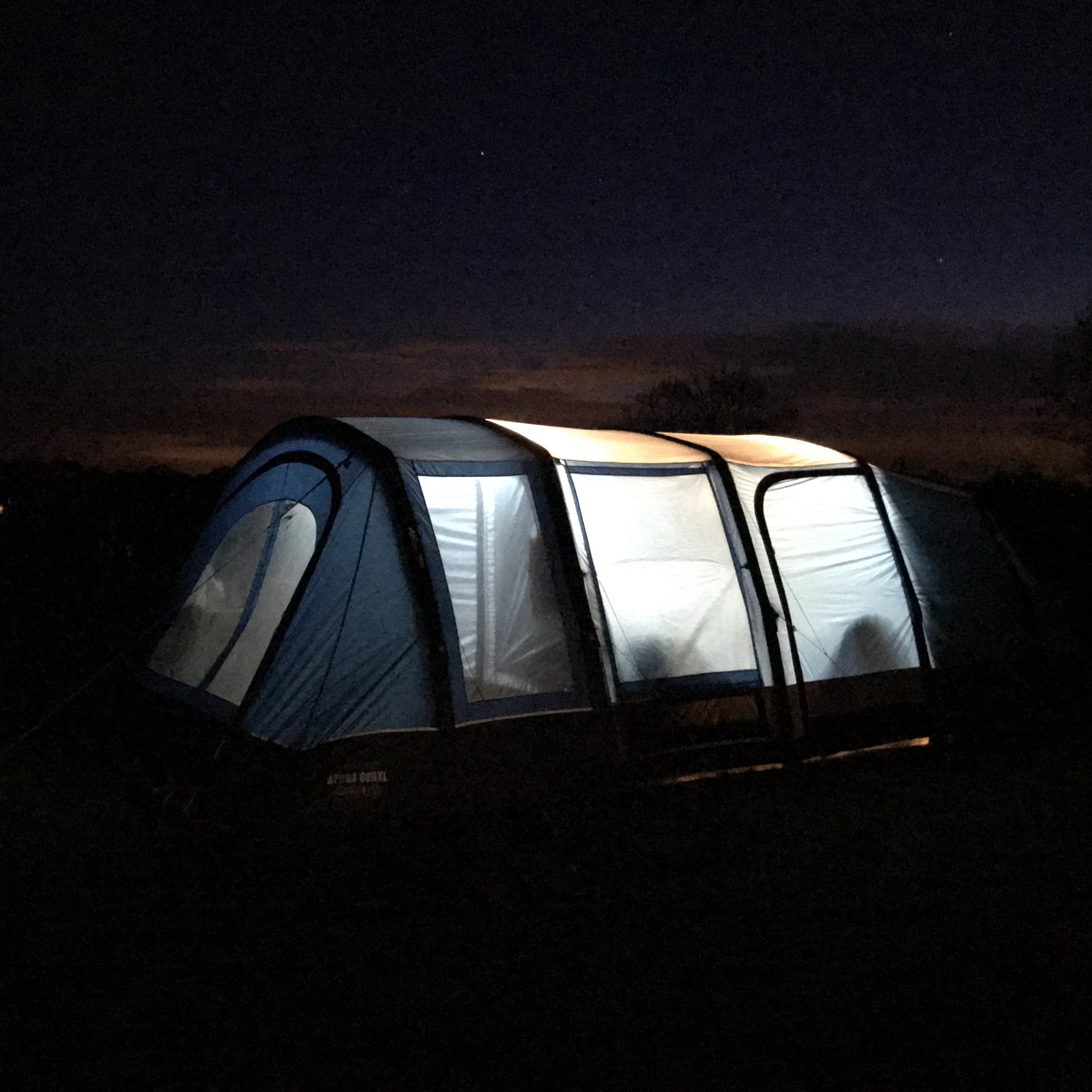 Tent by night! We used 2 sets of the  Vango sunbeam flexi lights 2m . this is the lights on full beam!! they were really good!