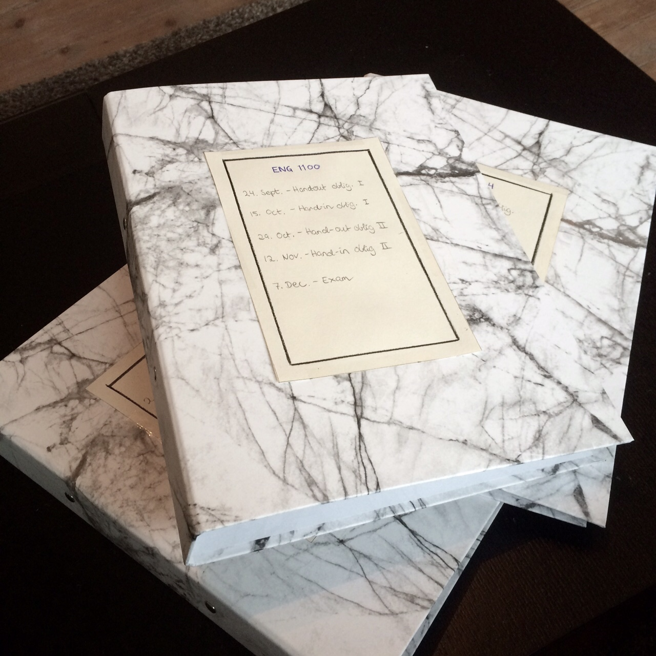I'm reusing last years literature folders, so just imagine these same folders, but with a new index glued to the front.